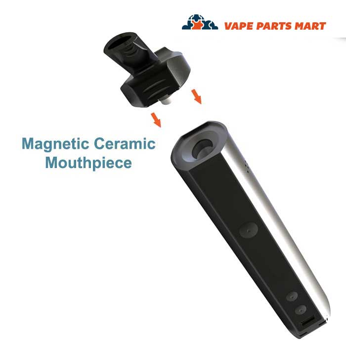 A view of the removable mouthpiece for the XMax Starry Vape