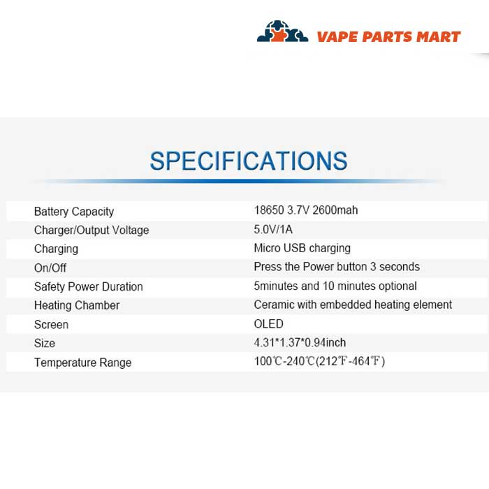 This is a spec sheet for the XMax Starry Portable herb Vaporizer.