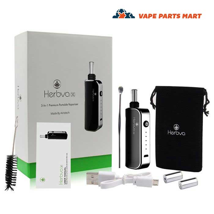 Airistech Herbva X3 vaporizer kit with all items displayed.