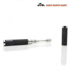 The yocan evolve c portable vape with the cap off on a white background.
