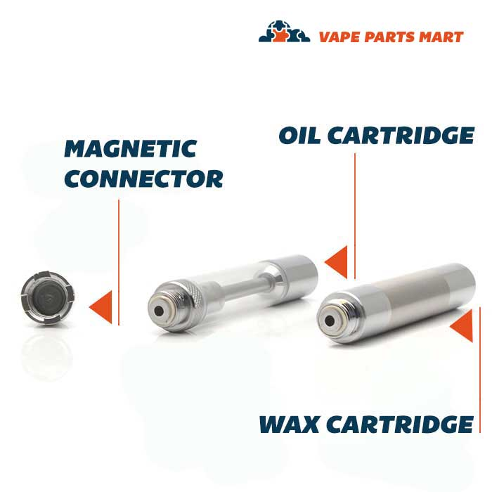 Yocan Hive vape kit oil and wax cartridges next to the magnetic connector