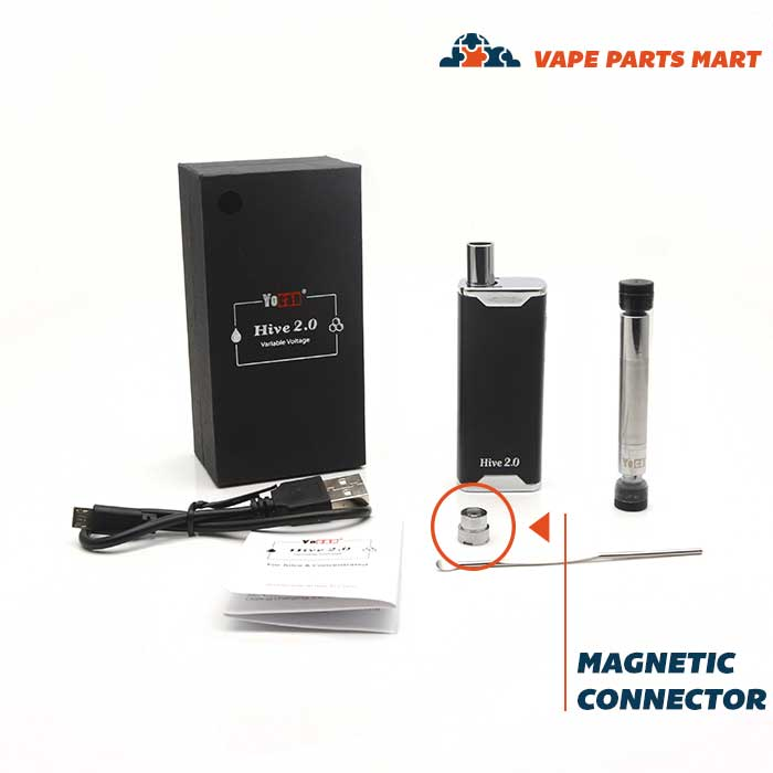 Yocan Hive magnetic connector showing with full kit.