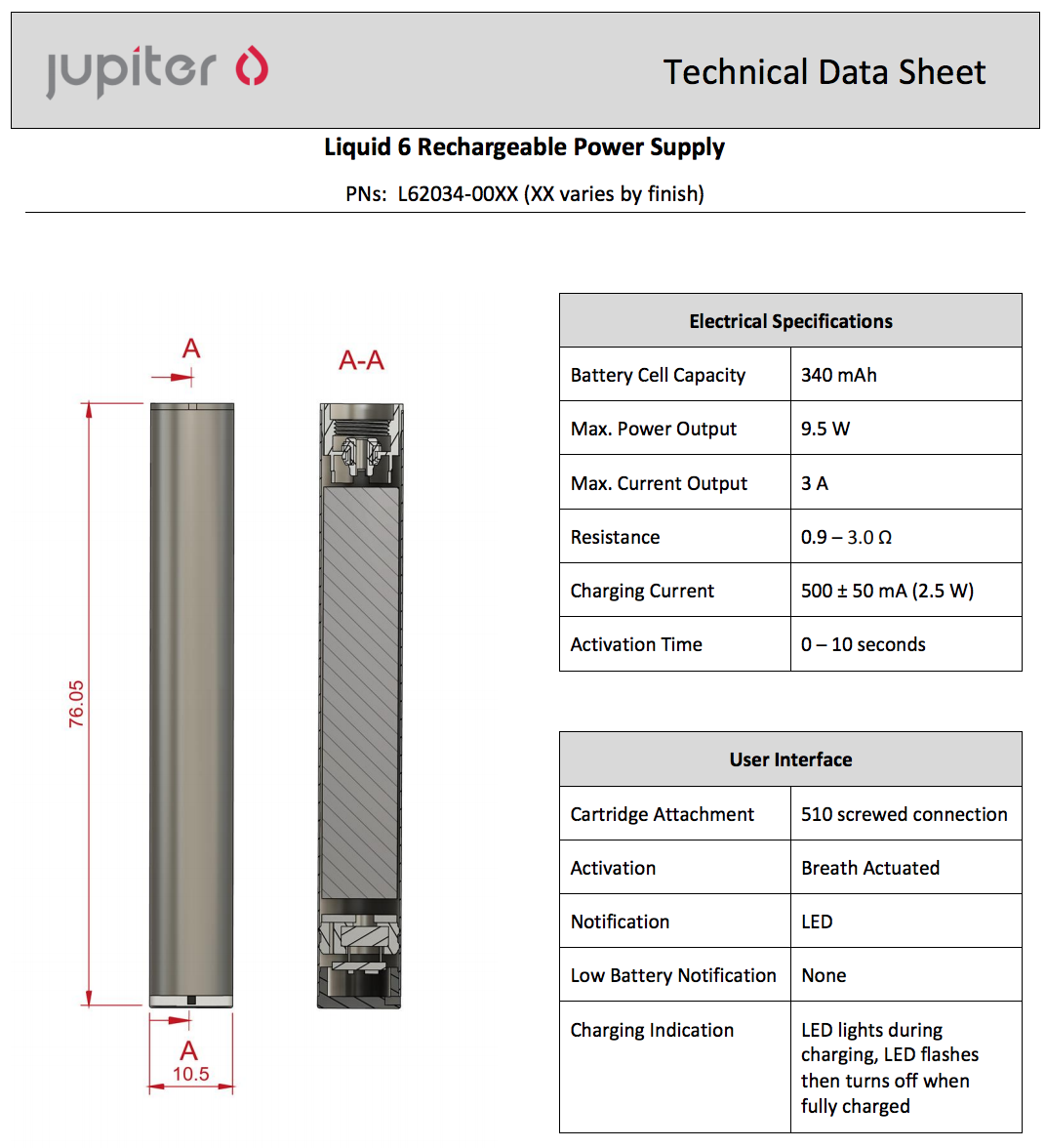 Jupiter l6 battery data sheet specifications