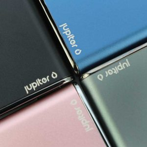 A close up of the Jupiter Palm batteries showing all four colors and the Jupiter logo